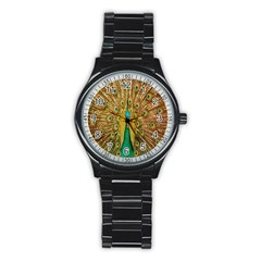 Peacock Bird Feathers Stainless Steel Round Watch by Simbadda