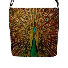 Peacock Bird Feathers Flap Messenger Bag (l)  by Simbadda