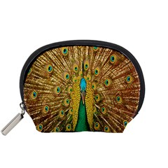 Peacock Bird Feathers Accessory Pouches (small)  by Simbadda