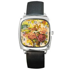 Victorian Background Square Metal Watch by Simbadda