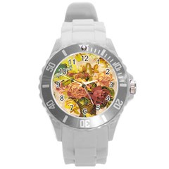 Victorian Background Round Plastic Sport Watch (l) by Simbadda