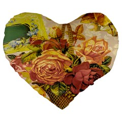Victorian Background Large 19  Premium Heart Shape Cushions by Simbadda