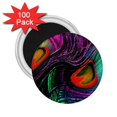 Peacock Feather Rainbow 2 25  Magnets (100 Pack)  by Simbadda