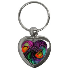 Peacock Feather Rainbow Key Chains (heart)  by Simbadda
