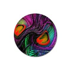 Peacock Feather Rainbow Magnet 3  (round) by Simbadda