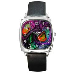 Peacock Feather Rainbow Square Metal Watch