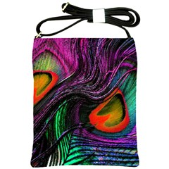Peacock Feather Rainbow Shoulder Sling Bags by Simbadda