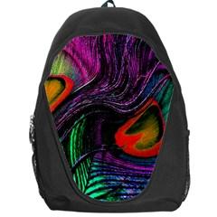 Peacock Feather Rainbow Backpack Bag by Simbadda