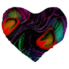Peacock Feather Rainbow Large 19  Premium Heart Shape Cushions by Simbadda