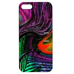 Peacock Feather Rainbow Apple Iphone 5 Hardshell Case With Stand by Simbadda