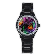 Peacock Feather Rainbow Stainless Steel Round Watch by Simbadda
