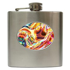 Colourful Abstract Background Design Hip Flask (6 Oz) by Simbadda