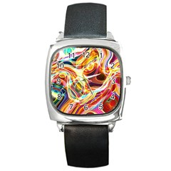Colourful Abstract Background Design Square Metal Watch by Simbadda