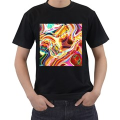Colourful Abstract Background Design Men s T Shirt (black) (two Sided) by Simbadda