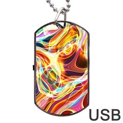 Colourful Abstract Background Design Dog Tag Usb Flash (two Sides) by Simbadda