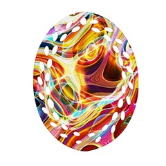 Colourful Abstract Background Design Oval Filigree Ornament (two Sides) by Simbadda