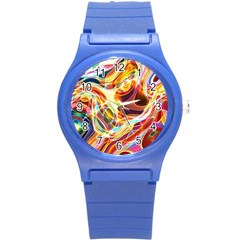 Colourful Abstract Background Design Round Plastic Sport Watch (s) by Simbadda