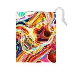 Colourful Abstract Background Design Drawstring Pouches (large)  by Simbadda