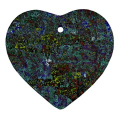 Stone Paints Texture Pattern Heart Ornament (two Sides) by Simbadda