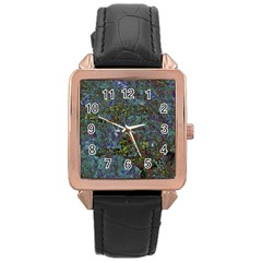 Stone Paints Texture Pattern Rose Gold Leather Watch  by Simbadda