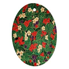 Berries And Leaves Ornament (oval) by Simbadda