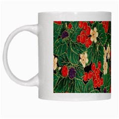 Berries And Leaves White Mugs by Simbadda