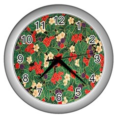 Berries And Leaves Wall Clocks (silver)  by Simbadda
