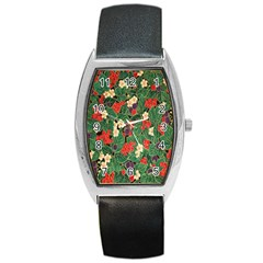 Berries And Leaves Barrel Style Metal Watch by Simbadda