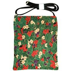 Berries And Leaves Shoulder Sling Bags by Simbadda