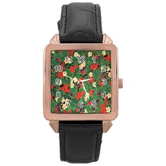 Berries And Leaves Rose Gold Leather Watch  by Simbadda