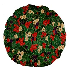 Berries And Leaves Large 18  Premium Flano Round Cushions by Simbadda