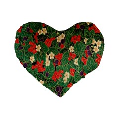 Berries And Leaves Standard 16  Premium Flano Heart Shape Cushions by Simbadda