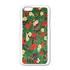 Berries And Leaves Apple Iphone 6/6s White Enamel Case by Simbadda