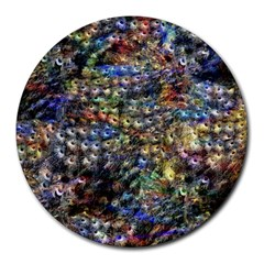 Multi Color Peacock Feathers Round Mousepads by Simbadda