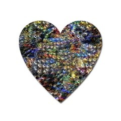 Multi Color Peacock Feathers Heart Magnet by Simbadda