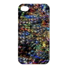 Multi Color Peacock Feathers Apple Iphone 4/4s Premium Hardshell Case by Simbadda