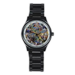 Multi Color Peacock Feathers Stainless Steel Round Watch by Simbadda