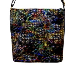 Multi Color Peacock Feathers Flap Messenger Bag (l)  by Simbadda