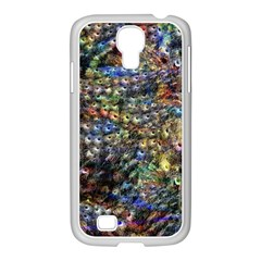 Multi Color Peacock Feathers Samsung Galaxy S4 I9500/ I9505 Case (white) by Simbadda