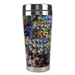 Multi Color Peacock Feathers Stainless Steel Travel Tumblers by Simbadda