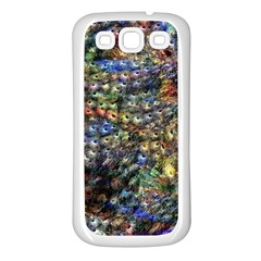 Multi Color Peacock Feathers Samsung Galaxy S3 Back Case (white) by Simbadda