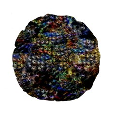 Multi Color Peacock Feathers Standard 15  Premium Flano Round Cushions by Simbadda