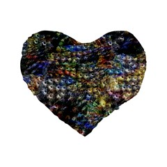 Multi Color Peacock Feathers Standard 16  Premium Flano Heart Shape Cushions by Simbadda