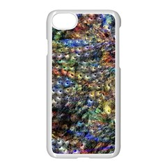 Multi Color Peacock Feathers Apple Iphone 7 Seamless Case (white) by Simbadda