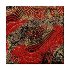 Red Gold Black Background Tile Coasters by Simbadda
