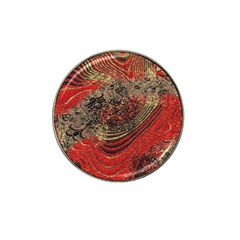 Red Gold Black Background Hat Clip Ball Marker (4 Pack) by Simbadda