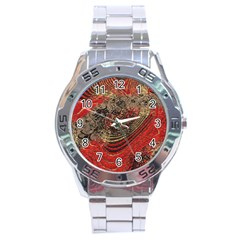 Red Gold Black Background Stainless Steel Analogue Watch by Simbadda