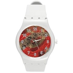 Red Gold Black Background Round Plastic Sport Watch (m) by Simbadda