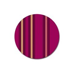 Stripes Background Wallpaper In Purple Maroon And Gold Magnet 3  (round) by Simbadda