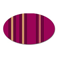 Stripes Background Wallpaper In Purple Maroon And Gold Oval Magnet by Simbadda